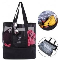 Plážová taška s termo přihrádkou - černá