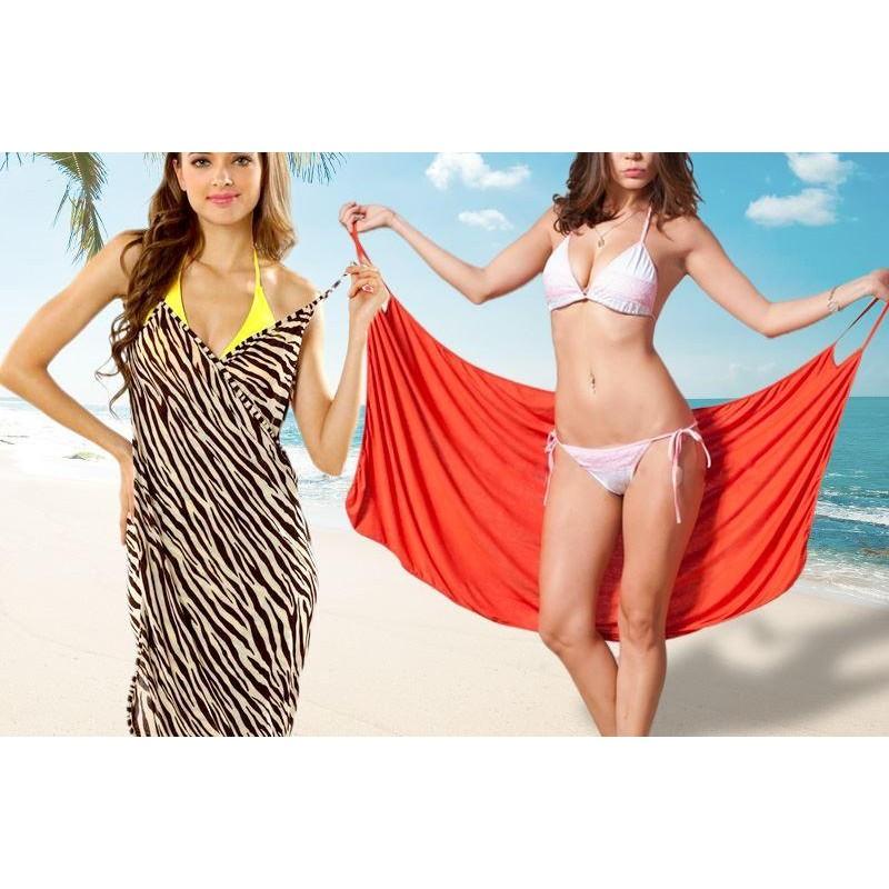 Plážové zavinovací šaty - červené