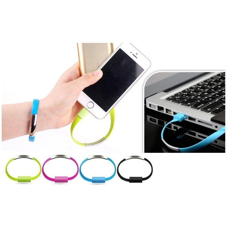 USB náramek - nabíjecí a datový kabel micro USB - černý