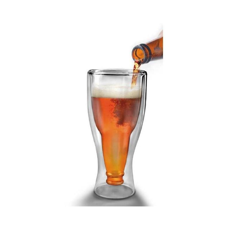 Sklenice na pivo ve tvaru obrácené láhve