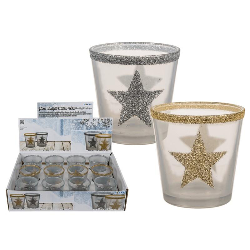 Dekorační sklo na čajovou svíčku - zlaté
