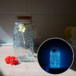 Svítící skleněná dóza - bílá/tyrkysová