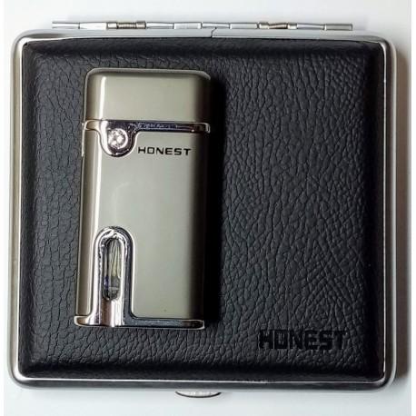 Dárková krabička sada luxusní zapalovač+tabatěrka MTC-406-3 Honest