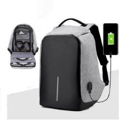 Bezpečnostní batoh s USB nabíječkou - šedý