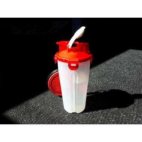 Cestovní láhev na vodu a krmivo - červená